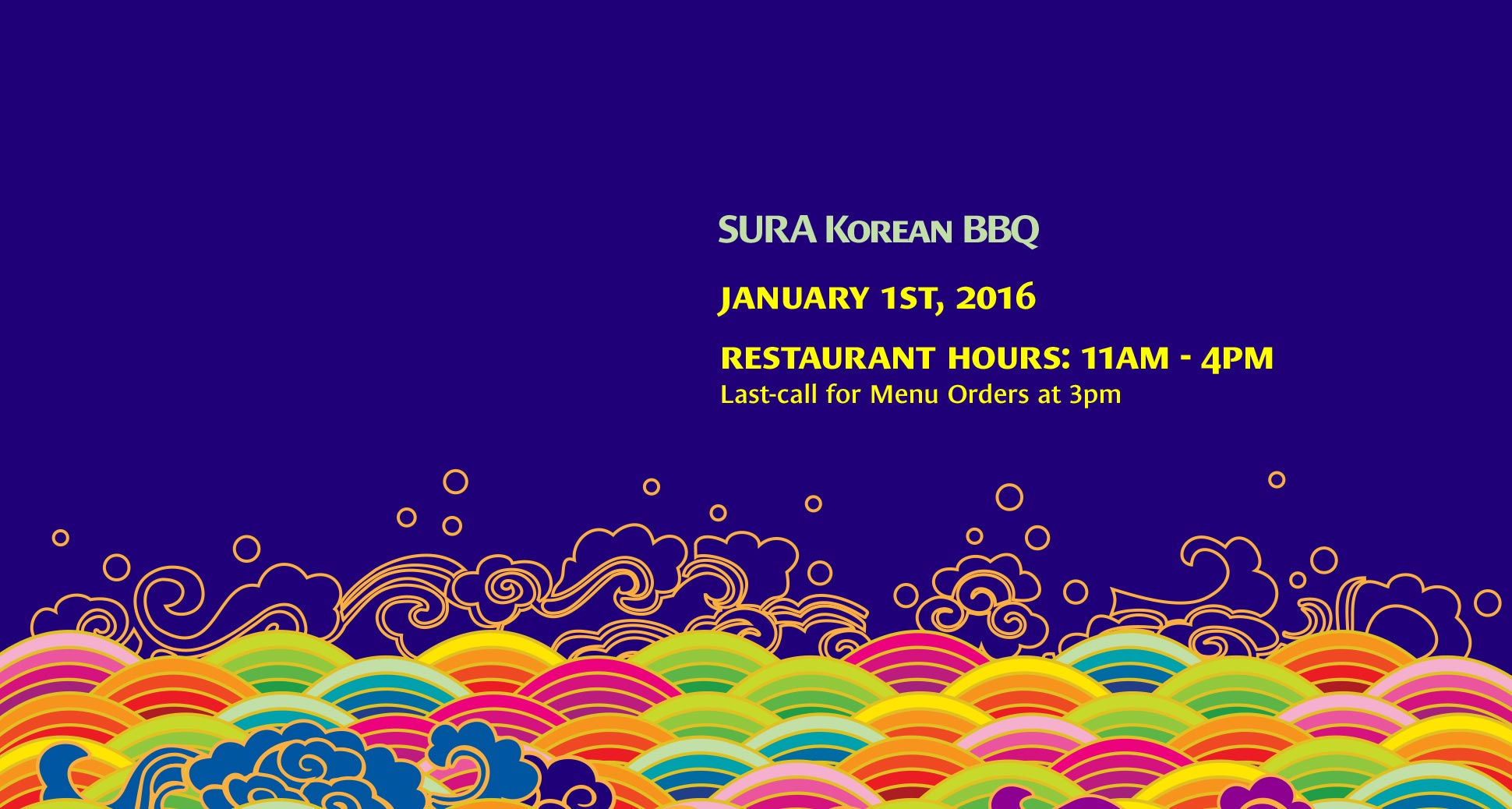 Happy new year! Restaurant hours on January 1st, 2016